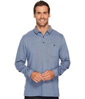 BUGATCHI - Long Sleeve Three-Button Polo Collar Fancy Knit w/ Cuff Pocket