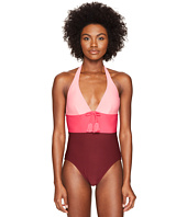 Kate Spade New York - Carmel Beach #60 Color Blocked Halter One-Piece Swimsuit w/ Removable Soft Cups