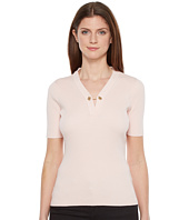 Ivanka Trump - Short Sleeve Sweater with Chain