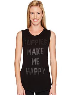 Puppies Make Me Happy - Title Tee Black on Black - Sleeveless