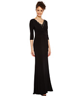 Adrianna Papell - Shirred Jersey Gown with Beaded Neck