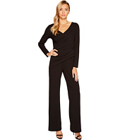 Adrianna Papell - Long Sleeve Crepe Knit V-Neck Jumpsuit