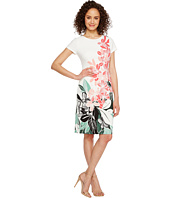 Adrianna Papell - Placed Kingston Floral Printed Stretch Crepe Sheath Dress