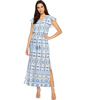 Adrianna Papell - Pieced Paisley Printed CDC Blouson Maxi Dress w/ Short Sleeves