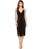 Halston Heritage - Sleeveless V-Neck Satin Slip Dress w/ Back Cut Outs