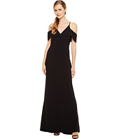 Halston Heritage - Short Sleeve Cold Shoulder V-Neck Crepe Gown