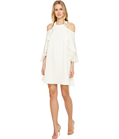 Halston Heritage - Short Sleeve Cold Shoulder Round Neck Flowy Dress