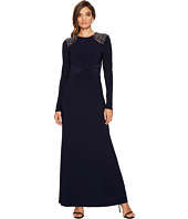 Vince Camuto - Long Sleeve Gown w/ Ruched Waist