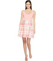 Aidan Mattox - Scoop Neck Shadow Stripe Dress