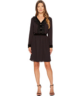 The Kooples - Long Sleeve Dress with a V-Neck and Front Button