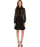 The Kooples - Contrasting Lace Dress with Jewel Buttons