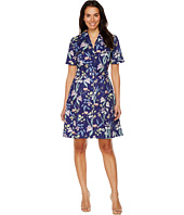 Sangria - Short Sleeve Floral A-Line Shirtdress