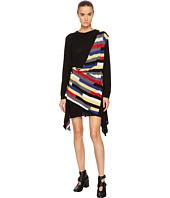 Sonia Rykiel - Runway Broken Stripe Intarsia Drape Front Long Sleeve Dress