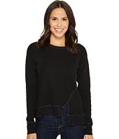 Mod-o-doc - Heather Slub Rib Asymmetrical Seamed Sweatshirt with Lace Trim
