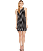 CeCe - Twist Back Equator Dot Halter Dress