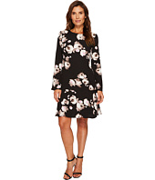 Ellen Tracy - Cloque Long Sleeve Flounce Dress