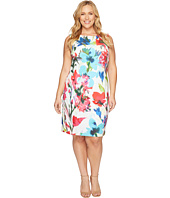 Ellen Tracy - Plus Size Printed Shift Dress in Scuba