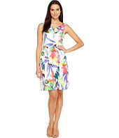 Ellen Tracy - Floral Printed Fit & Flare Dress with Wide Neckline