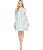 CeCe - Sleeveless Stripe Crinkle Gauze Pintuck Dress