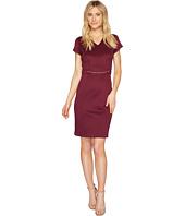 Ellen Tracy - Short Sleeved Scuba Dress with Chain Detail