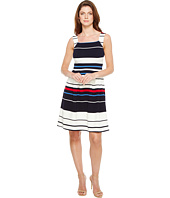Adrianna Papell - Sleeveless Ottom Stripe Fit and Flare Dress