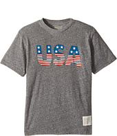 The Original Retro Brand Kids - Stars and Stripes Tri-Blend Short Sleeve USA Tee (Big Kids)