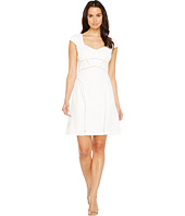 Adrianna Papell - Knit Crepe Netting Insert A-Line Dress