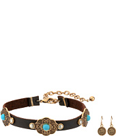 M&F Western - Leather with Copper Concho Choker/Earrings Set
