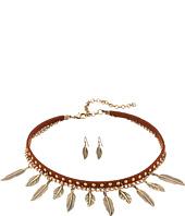 M&F Western - 2 Layer Dangle Feather Choker/Earrings Set