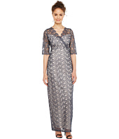 Sangria - 3/4 Sleeve Surplice Front Metallic Lace Column Gown