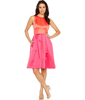 Sangria - Color Blocked Satin Fit and Flare with Pockets