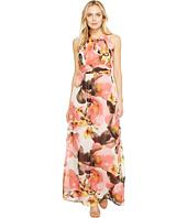 Sangria - Floral Print Chiffon Maxi