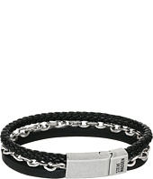 Steve Madden - Stainless Steel Aged Leather Chain Bracelet