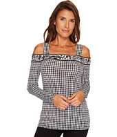 MICHAEL Michael Kors - Houndstooth Border Long Sleeve Top