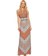 London Times - Geo Window Jersey Halter Maxi Dress