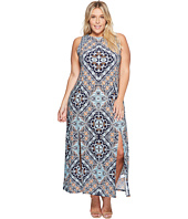 London Times - Plus Size Maxi Sheath Dress w/ Slits