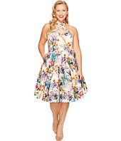 Unique Vintage - Plus Size Rita Cross Neck Swing Dress