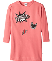 Karl Lagerfeld Kids - Long Sleeve Sweatdress with Printed Graphics (Little Kids)