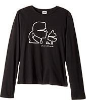 Karl Lagerfeld Kids - Long Sleeve Karl & Choupette Silhouette Tee (Big Kids)