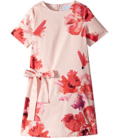 Lanvin Kids - Short Sleeve Floral Print A-Line Dress with Bow On Front (Little Kids/Big Kids)