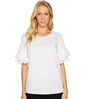 CeCe - Tiered Ruffle Sleeve Poplin Shirt