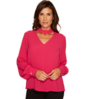 CeCe - Long Sleeve Mock Neck Choker Textured Blouse