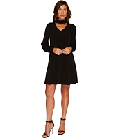 CeCe - Long Sleeve Mock Choker Crepe Knit Dress