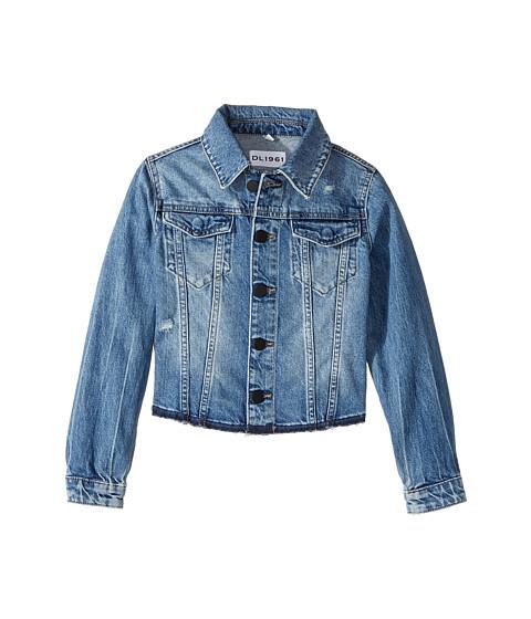 DL1961 Kids Mid Wash Denim Jacket with Mild Distressing and Angled Hem (Big Kids)