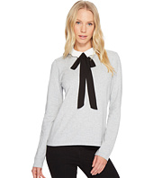 CeCe - Long Sleeve Scalloped Bow Tie Collar Pullover