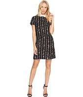 CeCe - Short Sleeve Satin Crepe Floral Vine Collar Dress
