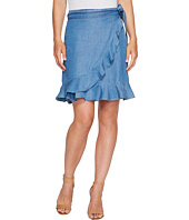 Ivanka Trump - Denim Tencil Faux Wrap Skirt