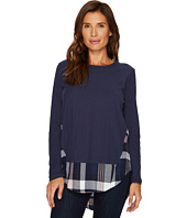 TWO by Vince Camuto - Long Sleeve Mixed Media Broken Plaid Top