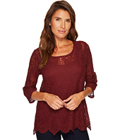 Tribal - 3/4 Sleeve Round Neck Embroidered Mesh Top w/ Scallop Hem