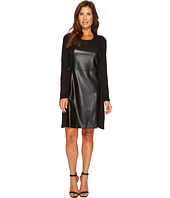 Tribal - Crew Neck Dress w/ Pockets and Faux Leather Detail